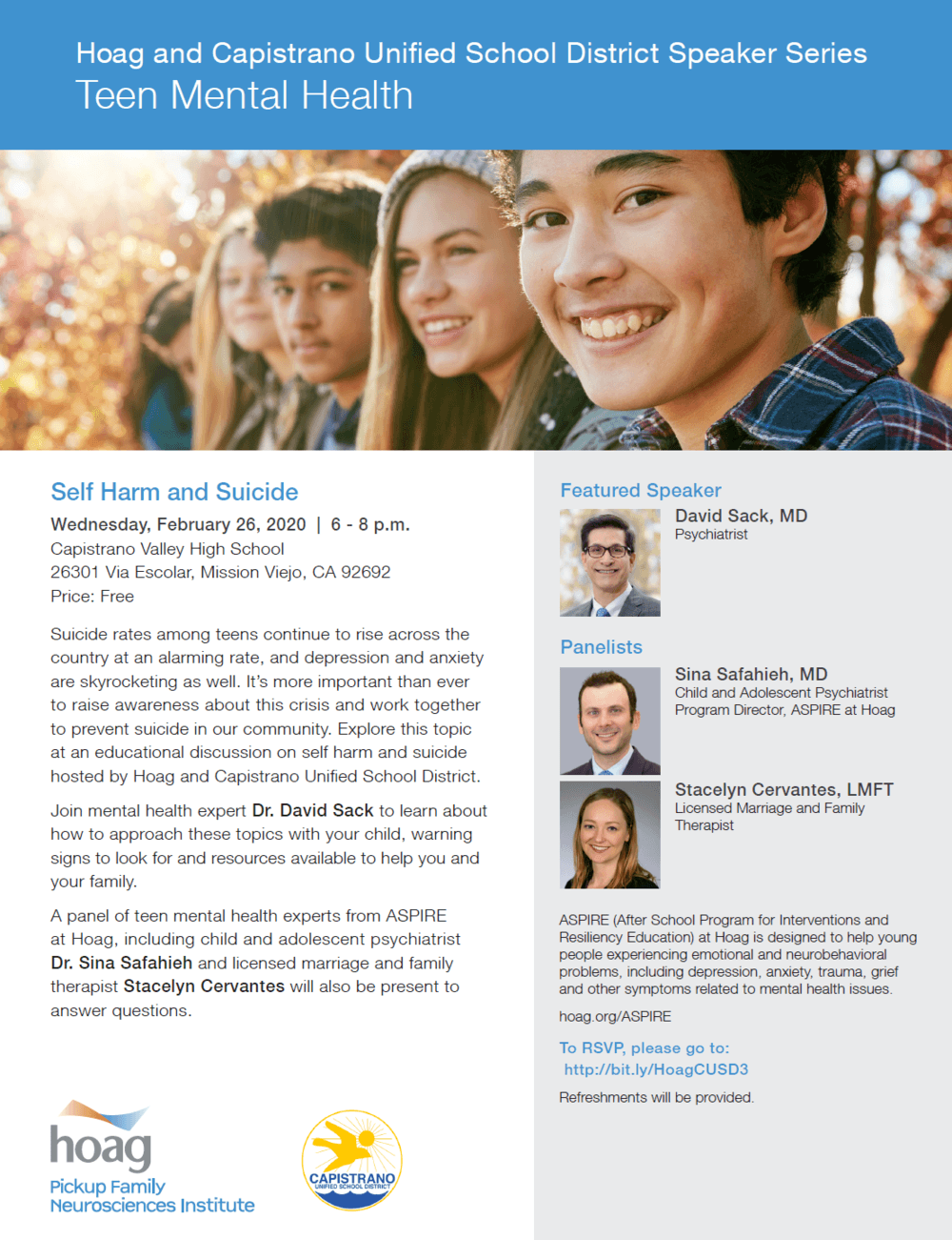 CUSD-Hoag Teen Mental Health Flyer