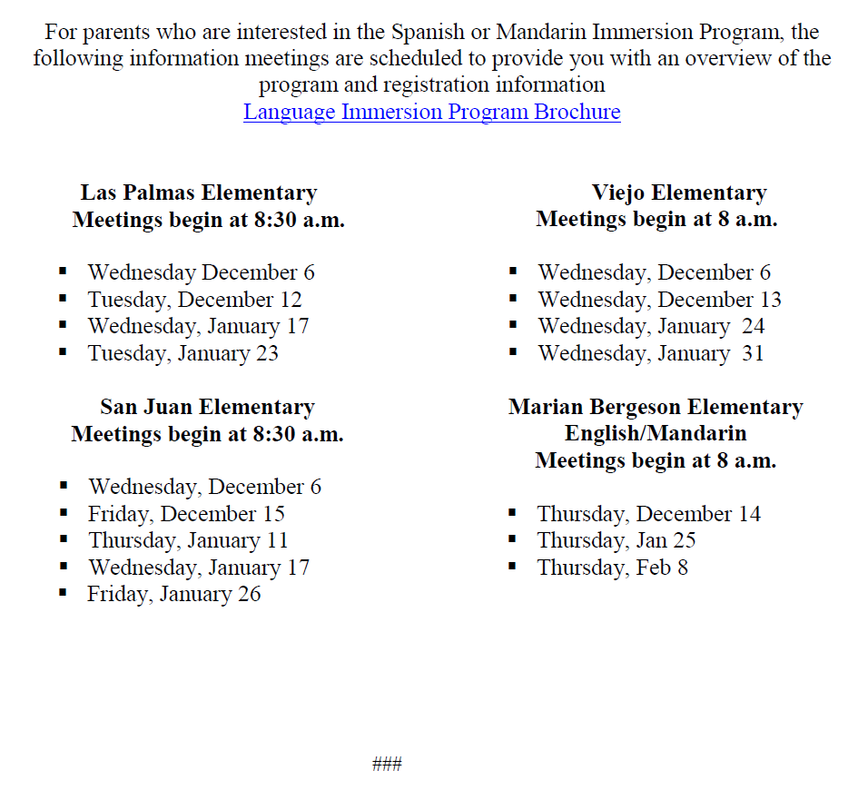 Language Immersion Information