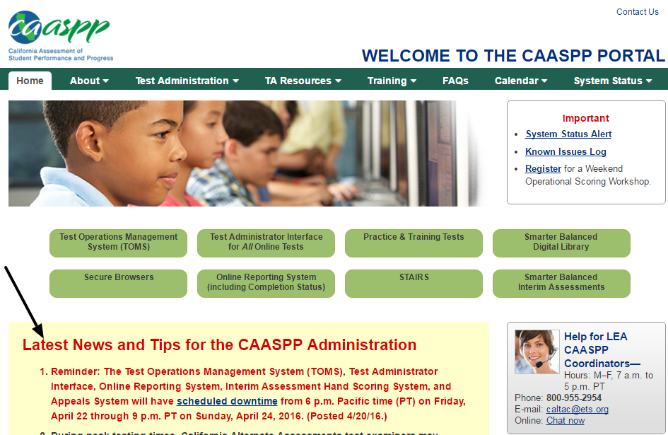 Welcome to the CAASPP Web Site